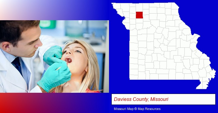 a dentist examining teeth; Daviess County, Missouri highlighted in red on a map