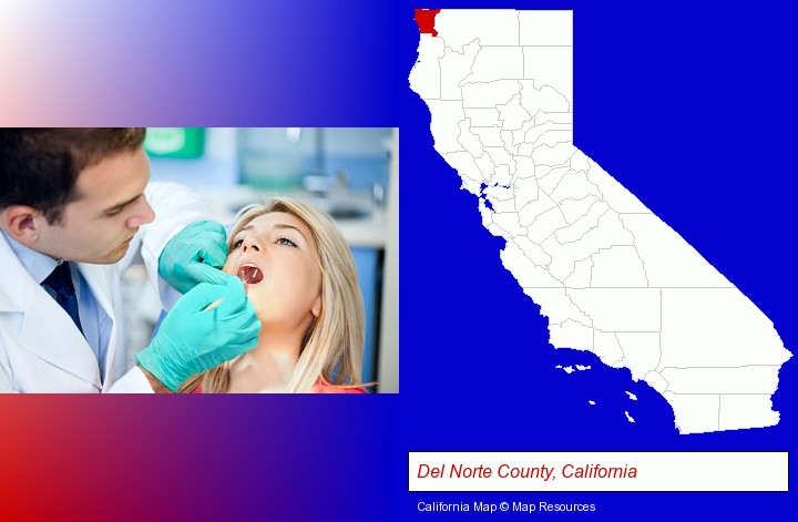 a dentist examining teeth; Del Norte County, California highlighted in red on a map