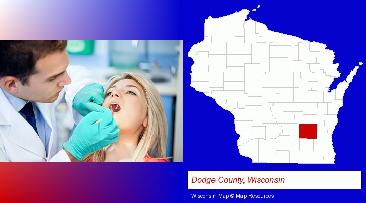 a dentist examining teeth; Dodge County, Wisconsin highlighted in red on a map