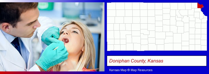 a dentist examining teeth; Doniphan County, Kansas highlighted in red on a map