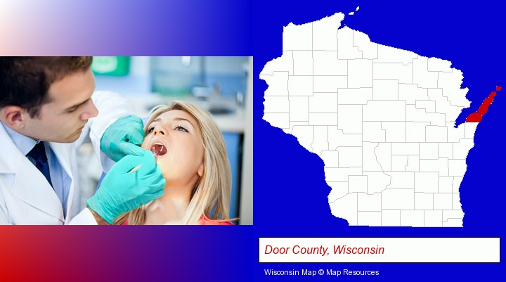 a dentist examining teeth; Door County, Wisconsin highlighted in red on a map