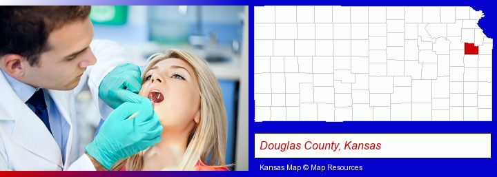 a dentist examining teeth; Douglas County, Kansas highlighted in red on a map