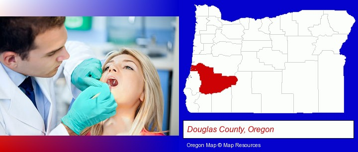 a dentist examining teeth; Douglas County, Oregon highlighted in red on a map