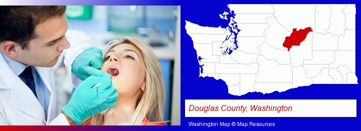 a dentist examining teeth; Douglas County, Washington highlighted in red on a map