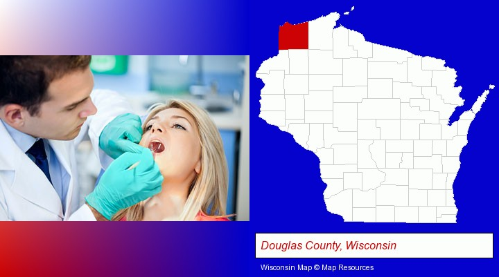 a dentist examining teeth; Douglas County, Wisconsin highlighted in red on a map