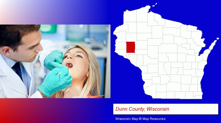 a dentist examining teeth; Dunn County, Wisconsin highlighted in red on a map