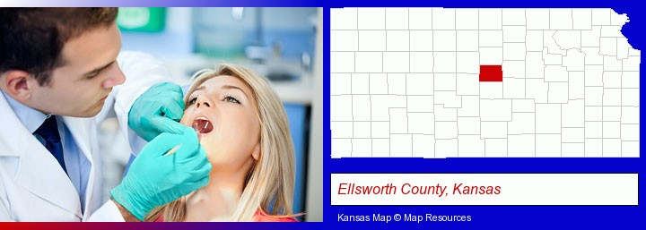 a dentist examining teeth; Ellsworth County, Kansas highlighted in red on a map