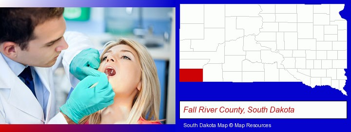 a dentist examining teeth; Fall River County, South Dakota highlighted in red on a map