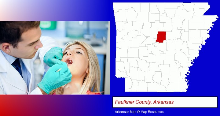 a dentist examining teeth; Faulkner County, Arkansas highlighted in red on a map