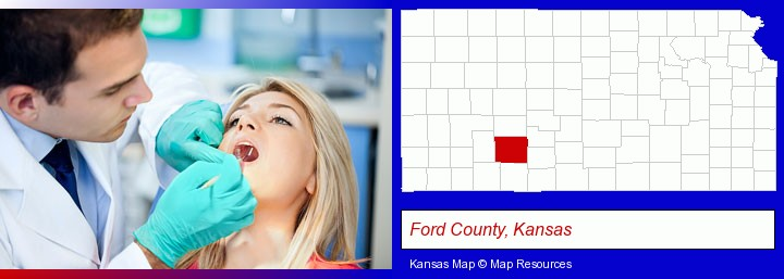 a dentist examining teeth; Ford County, Kansas highlighted in red on a map