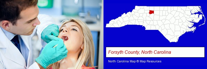 a dentist examining teeth; Forsyth County, North Carolina highlighted in red on a map