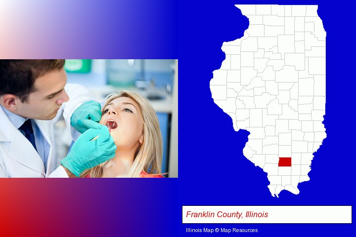 a dentist examining teeth; Franklin County, Illinois highlighted in red on a map