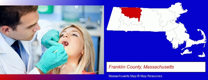 a dentist examining teeth; Franklin County, Massachusetts highlighted in red on a map