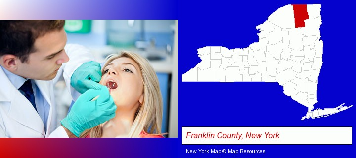 a dentist examining teeth; Franklin County, New York highlighted in red on a map