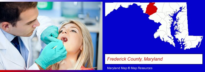 a dentist examining teeth; Frederick County, Maryland highlighted in red on a map