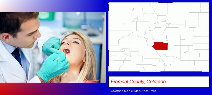 a dentist examining teeth; Fremont County, Colorado highlighted in red on a map