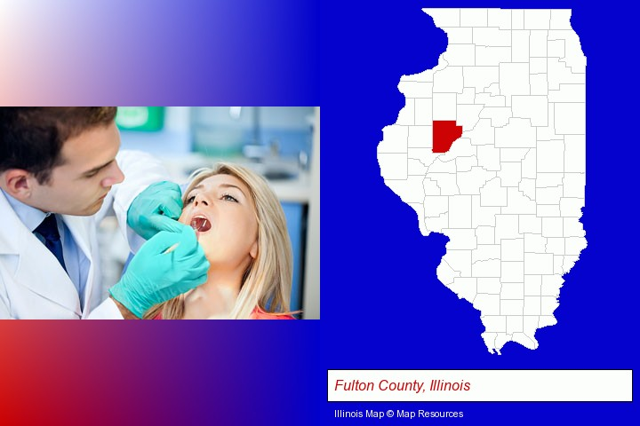 a dentist examining teeth; Fulton County, Illinois highlighted in red on a map