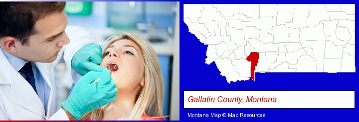 a dentist examining teeth; Gallatin County, Montana highlighted in red on a map