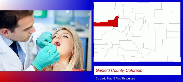 a dentist examining teeth; Garfield County, Colorado highlighted in red on a map
