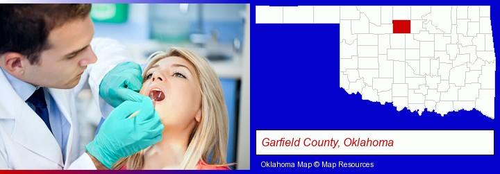 a dentist examining teeth; Garfield County, Oklahoma highlighted in red on a map