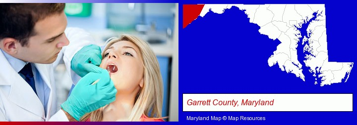 a dentist examining teeth; Garrett County, Maryland highlighted in red on a map
