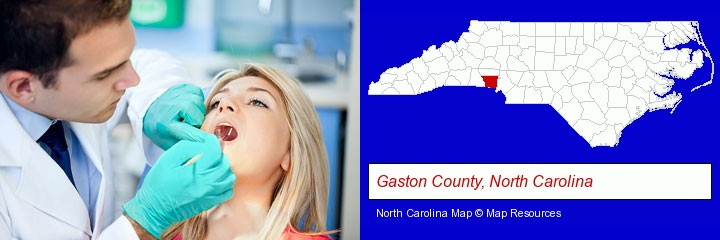 a dentist examining teeth; Gaston County, North Carolina highlighted in red on a map