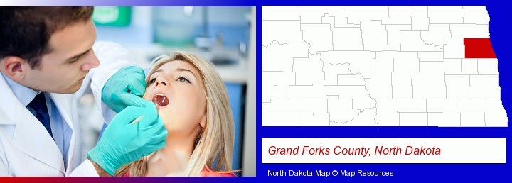 a dentist examining teeth; Grand Forks County, North Dakota highlighted in red on a map