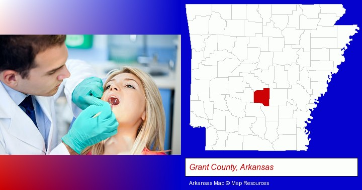 a dentist examining teeth; Grant County, Arkansas highlighted in red on a map