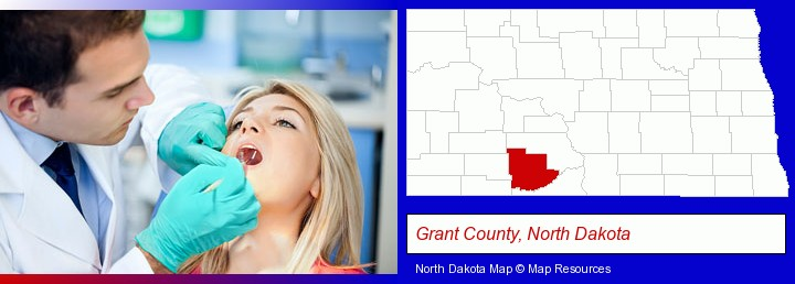 a dentist examining teeth; Grant County, North Dakota highlighted in red on a map