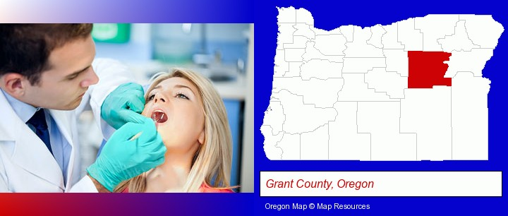 a dentist examining teeth; Grant County, Oregon highlighted in red on a map