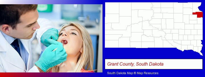 a dentist examining teeth; Grant County, South Dakota highlighted in red on a map