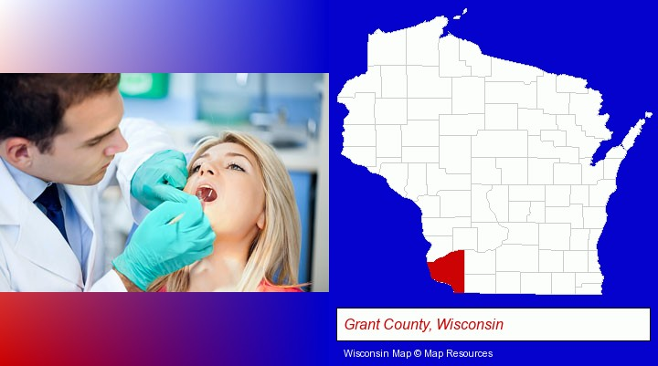 a dentist examining teeth; Grant County, Wisconsin highlighted in red on a map
