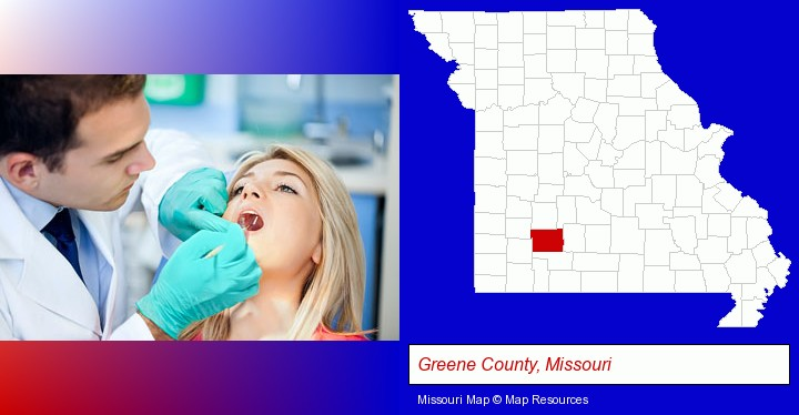 a dentist examining teeth; Greene County, Missouri highlighted in red on a map