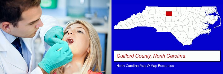 a dentist examining teeth; Guilford County, North Carolina highlighted in red on a map
