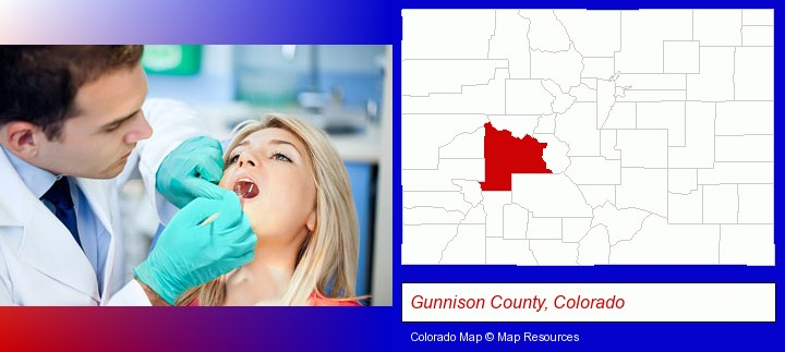a dentist examining teeth; Gunnison County, Colorado highlighted in red on a map