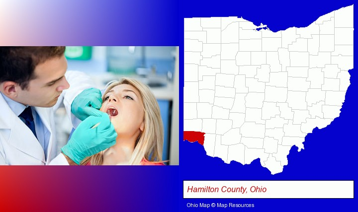 a dentist examining teeth; Hamilton County, Ohio highlighted in red on a map