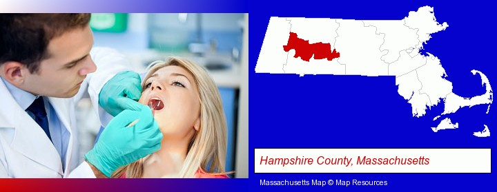 a dentist examining teeth; Hampshire County, Massachusetts highlighted in red on a map