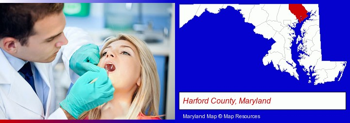 a dentist examining teeth; Harford County, Maryland highlighted in red on a map