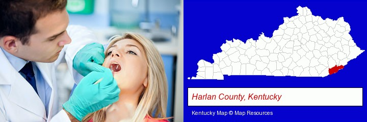 a dentist examining teeth; Harlan County, Kentucky highlighted in red on a map