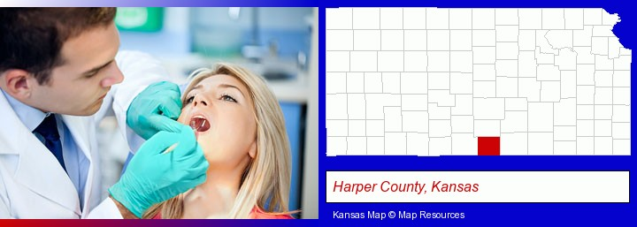 a dentist examining teeth; Harper County, Kansas highlighted in red on a map