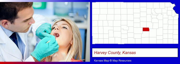 a dentist examining teeth; Harvey County, Kansas highlighted in red on a map