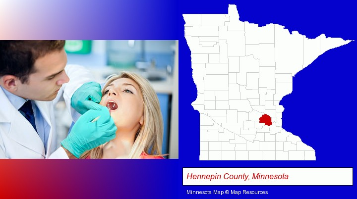 a dentist examining teeth; Hennepin County, Minnesota highlighted in red on a map