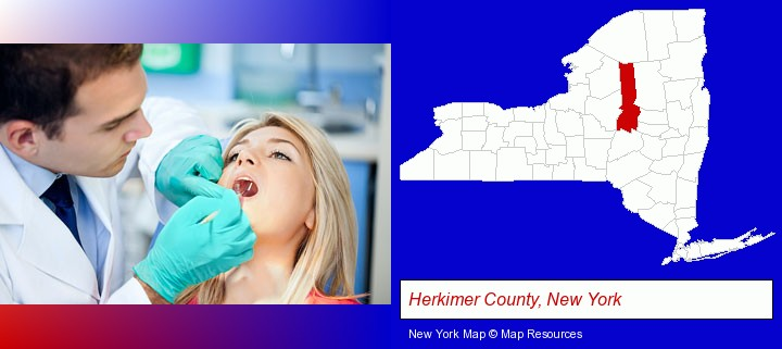 a dentist examining teeth; Herkimer County, New York highlighted in red on a map