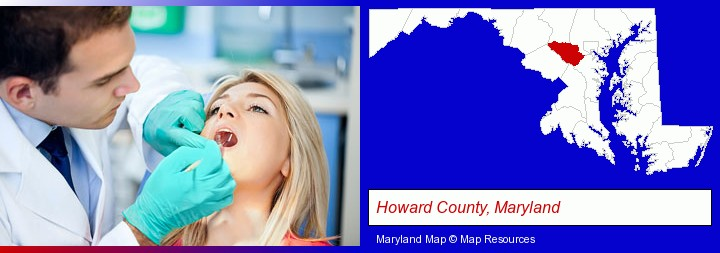 a dentist examining teeth; Howard County, Maryland highlighted in red on a map