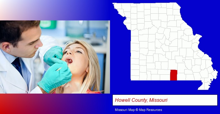 a dentist examining teeth; Howell County, Missouri highlighted in red on a map