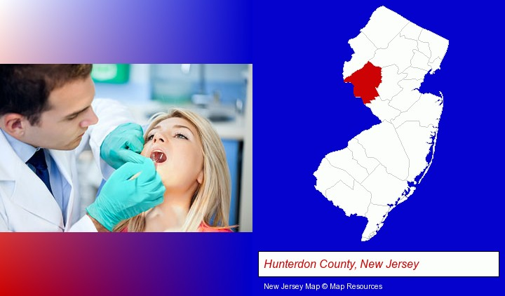 a dentist examining teeth; Hunterdon County, New Jersey highlighted in red on a map