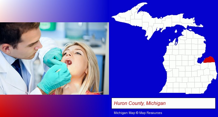a dentist examining teeth; Huron County, Michigan highlighted in red on a map