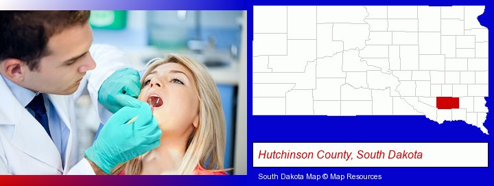 a dentist examining teeth; Hutchinson County, South Dakota highlighted in red on a map