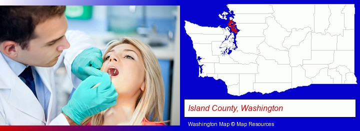 a dentist examining teeth; Island County, Washington highlighted in red on a map
