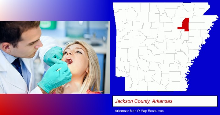 a dentist examining teeth; Jackson County, Arkansas highlighted in red on a map